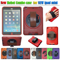 Rugged plastic and TPU combo case with 360 rotate kickstand for iPad mini 2 with screen protector