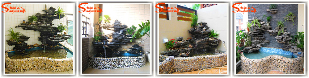 Black fiberglass artificial rock garden buddha fountain for Japanese water feature for sale