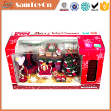 Lamplight voice control christmas miniature wooden toy doll house