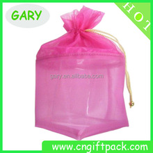Wholesale Pink Organza Mesh Packing Bags with Bear Drawstring