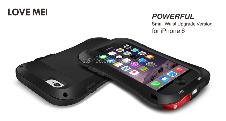 Metal Gorilla Glass Cover Case,LOVE MEI For iPhone 6 Aluminum Metal Waterproof Rugged Protective Case