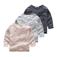 Wholesale baby boy long sleeve t shirt Natural colored cotton plain t shirt kids