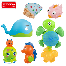 6 pcs unique soft plastic material funny animal baby bath toy