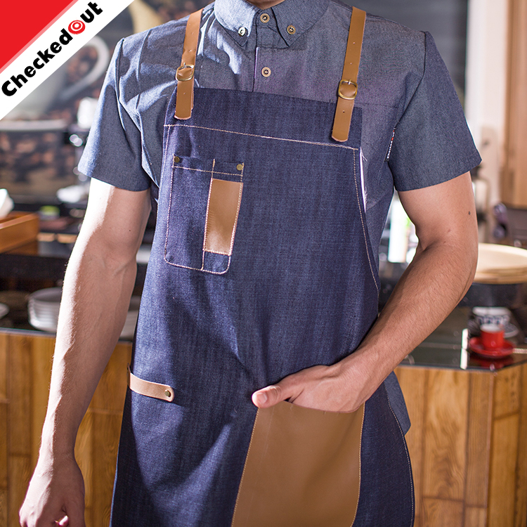 High Quality Wholesale Breathable Comfortable denim Chef Aprons With a leather belt
