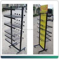 floor double sides metal wire basket hanging standing display rack wholesale in China