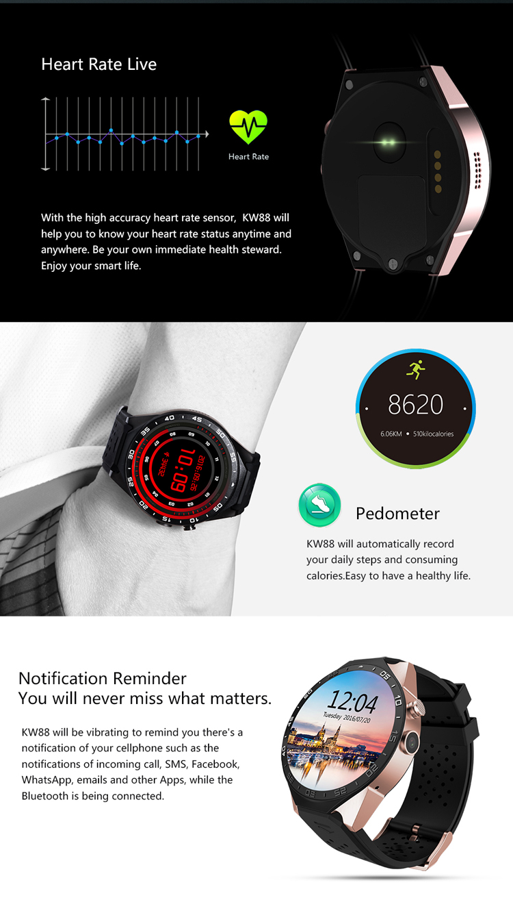 "3G wifi Heart rate monitor kw88 smart watch phone 1.39""Amoled screen and gps navigation"