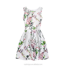women fancy casual holiday dress/dns light color peach printed sleeveless A line slim dress/ women fashion dress