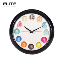 Quartz colorful ball shape time plastic wall clock with convex glass lens