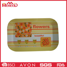 Coffee shop use oblong shape flower print plastic melamine food serving tray