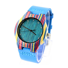 2018 Custom Logo ECO Friendly Women Watches Brand Colourful Earth Bamboo Wood Watches