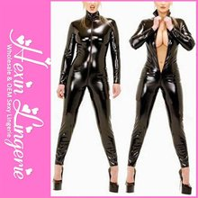 Wholesale Black Sexy Full Leather Latex Bodysuits For Women