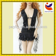 black color knit material 2014 factory new design can modify the figure of sexy lingerie