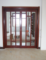 China manufacturer series aluminium alloy wood color frame sliding door tempered