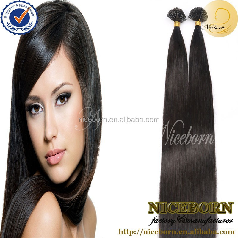 Free shipping 100 strands/pack Brazilian u tip hair silk straight remy u tip keratin human hair extension