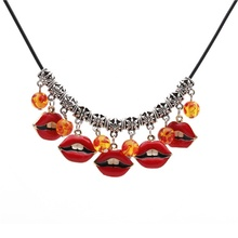 Trend Red Lips charm <strong>Necklace</strong> Sexy Playful Clavicle Chain Flame DIY Amber halloween <strong>necklace</strong> By JUNLU Jewelry