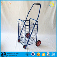 Wholesale steel fold up metal shopping carts with wheels, metal shopping cart with plastic handle(Trade assurance)