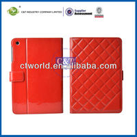 wine red belt flip cover PU Leather standing case for ipad mini.