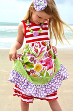 Wholesale girls boutique dress set summer girls ruffle clothing strawberry fields girl dress