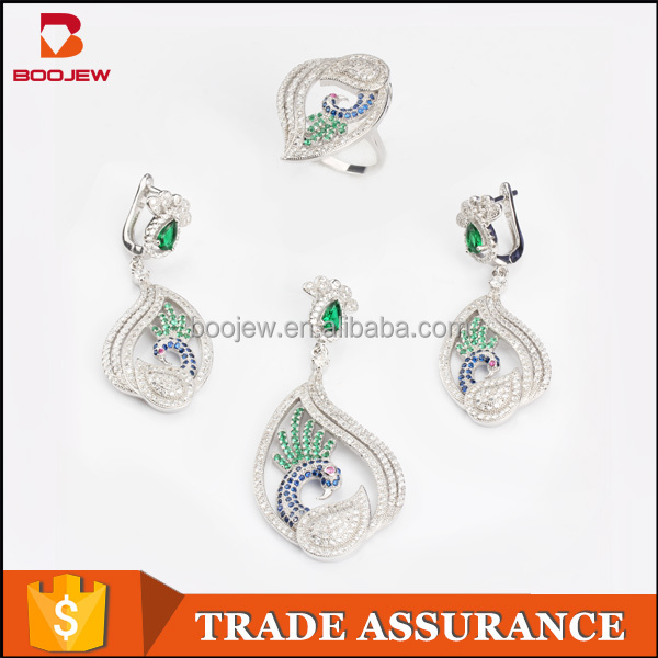 China Wholesale silver Indian peacock multi-color gemstone bridal jewelry sets maroon