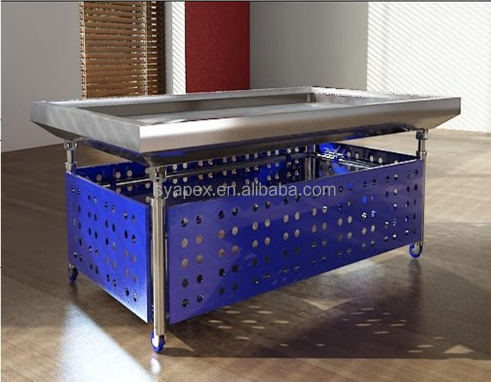 APEX custom make commercial supermarket restaurant stainless steel frozen chicken feet display table