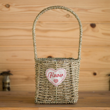 Home decoration white wicker flower basket with handle