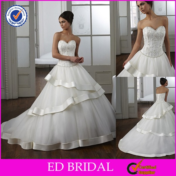 2015 New Arrival Free Patterns Sweetheart Bling Wedding Dresses Ball Gown
