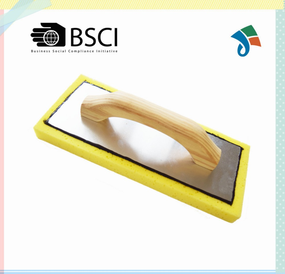 Swiss cheese sponge with wood handle aluminum backing float trowel