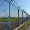 High security chain link airport fence with razor barbed wire