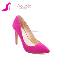 New style fashion office lady 10cm pointed toe kid suede rose red pumps high heel ladies dress shoes