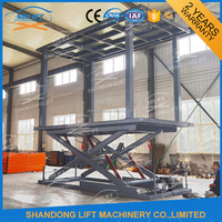 3.5 T Double scissor lift platform is installed in the pit