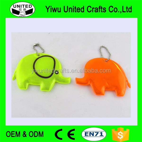 Promotional Gifts elephant Shape Soft PVC Reflective Keyring