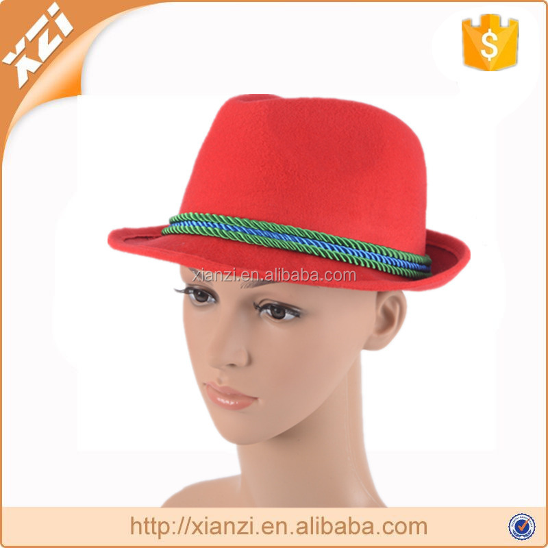 ribbon & rope accessory type Unisex short brim European style wool felt western fedora hat