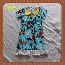 2015children baby dress for girls of 7 year old bird and tree pattern summer wear yawoo brand collar short sleeve ruffle dresses