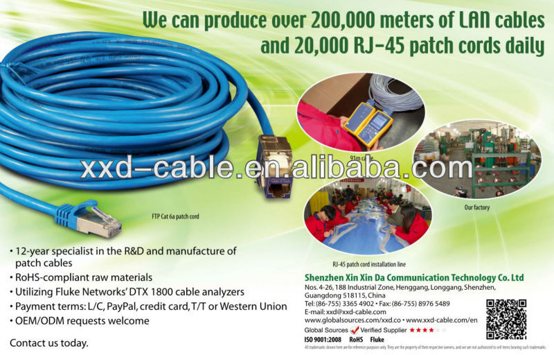 High Performance FTP cat6a patch cord cables With Polybag or Blister Package