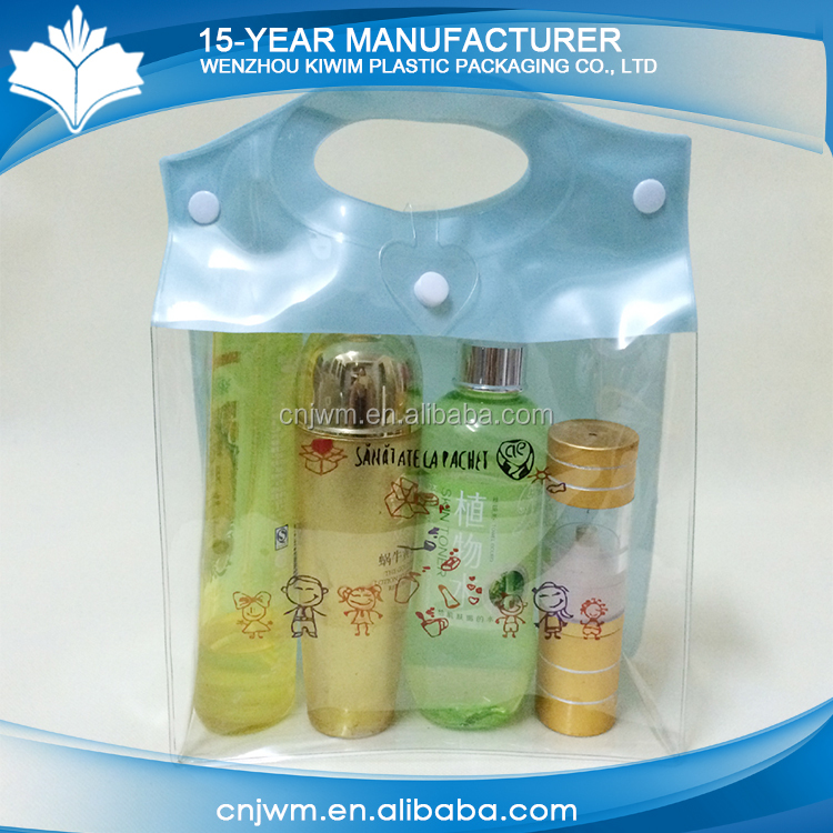 Wenzhou promotional clear transparent customized plastic pvc gift bag with handle