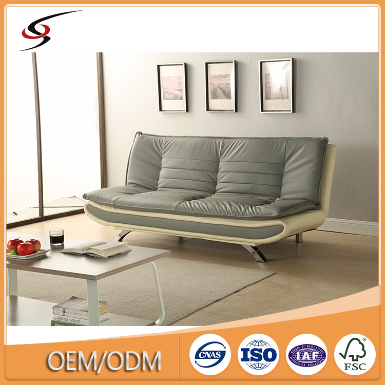 Latest German Divan Sofa Bed Design Eco Friendly Pvc Leather Strong Futon