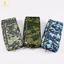 LQPT-B900 for promotion or gift stationery new 600D oxford fabric or canvas 3pockets 3patterns color camouflage pencil bag box