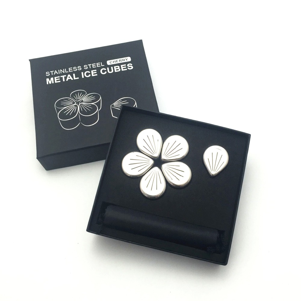 Fancy Flower Petal Shaped Stainless Steel Ice Cubes ,Reusable chilling Rocks