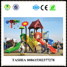 With a red flower and roof used plastic slide playground for sale yard games plastic slides for sale QX-18027A