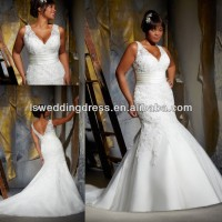 WD2919 Elegant V Neck front and back mermaid super wedding dress for fat women big size bridal dress plus size wedding dresses
