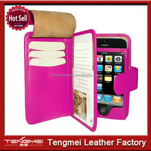 Hot custom made mobile phone pu leather case wallet for iphone 5