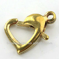 Raw Without Plating Brass Heart Shape Lobster Clasp