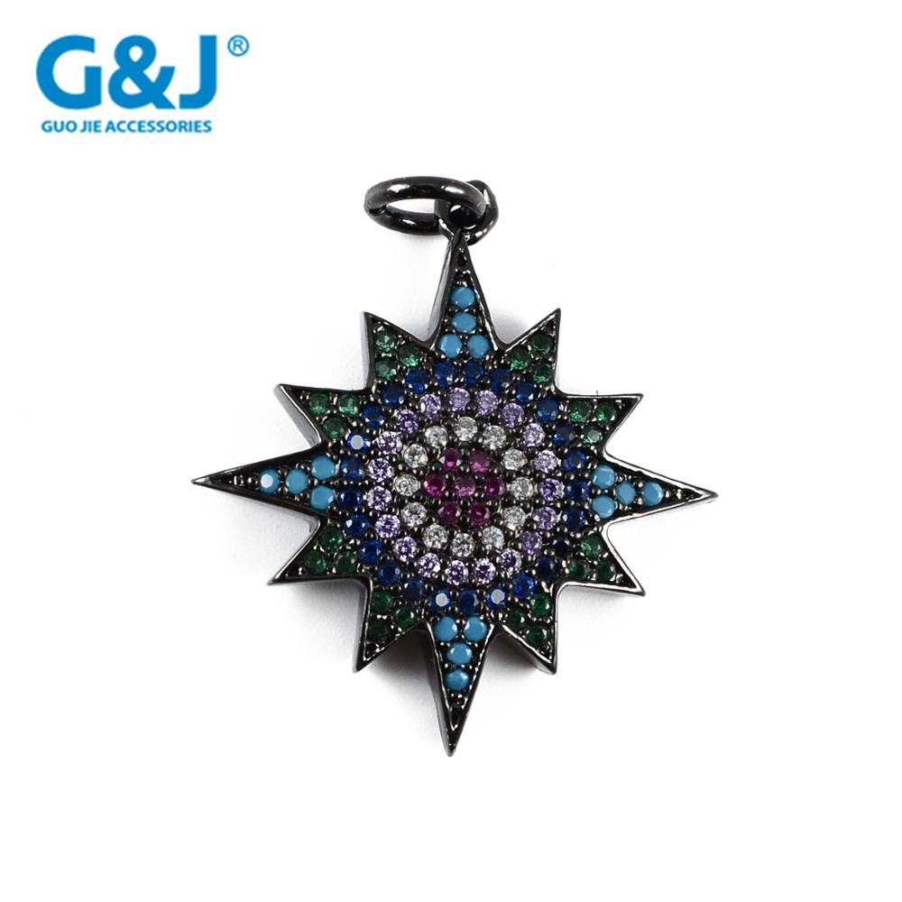 GuoJie brand high quality micro pave CZ zircon accessories jewelry shoelace lucky charm pendant