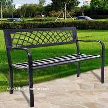 Patio Garden Bench Park Yard Outdoor Furniture, Cast and Tubular Iron Metal, Powder Coat Black Finish, Classic Decorative Desig
