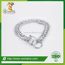 Double-row stainless steel dog chain collar