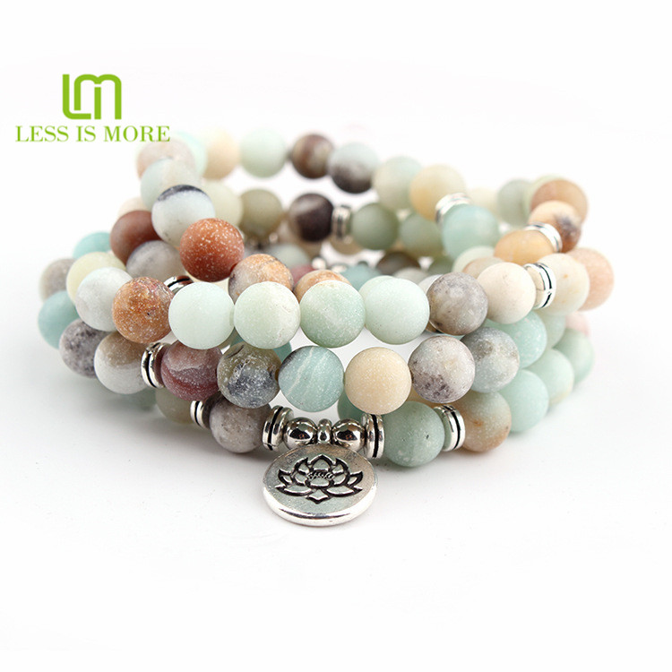 Yoga life style Natural Matte Amazonite Stones Necklace 8mm 108 Beaded Handmade bracelet <strong>Jewelry</strong>