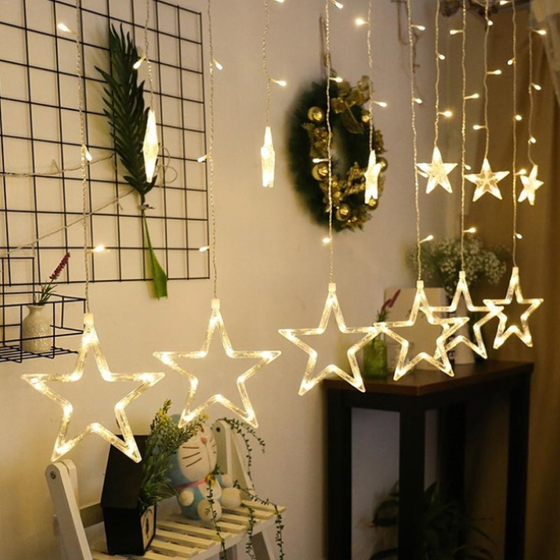 Warm white <strong>10</strong> big stars led string fairy light 3M 138Leds curtain light Christmas home lighting Ramadan