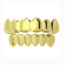 Hip Hop bling real gold color Teeth Grillz Caps Top & Bottom Grill Set TG021-G8