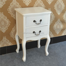 french style white color wood nightstand 2 drawers
