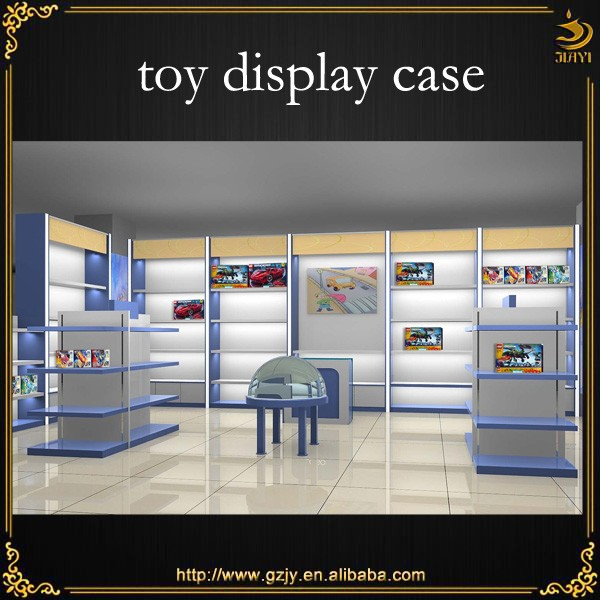 Wall mounted wooden toys display rack for toy store display furniture design
